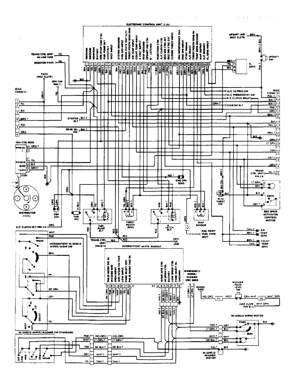 25: Cherokee, Comanche & Wagoneer Throttle Body Fuel Injection System Wiring  Diagram