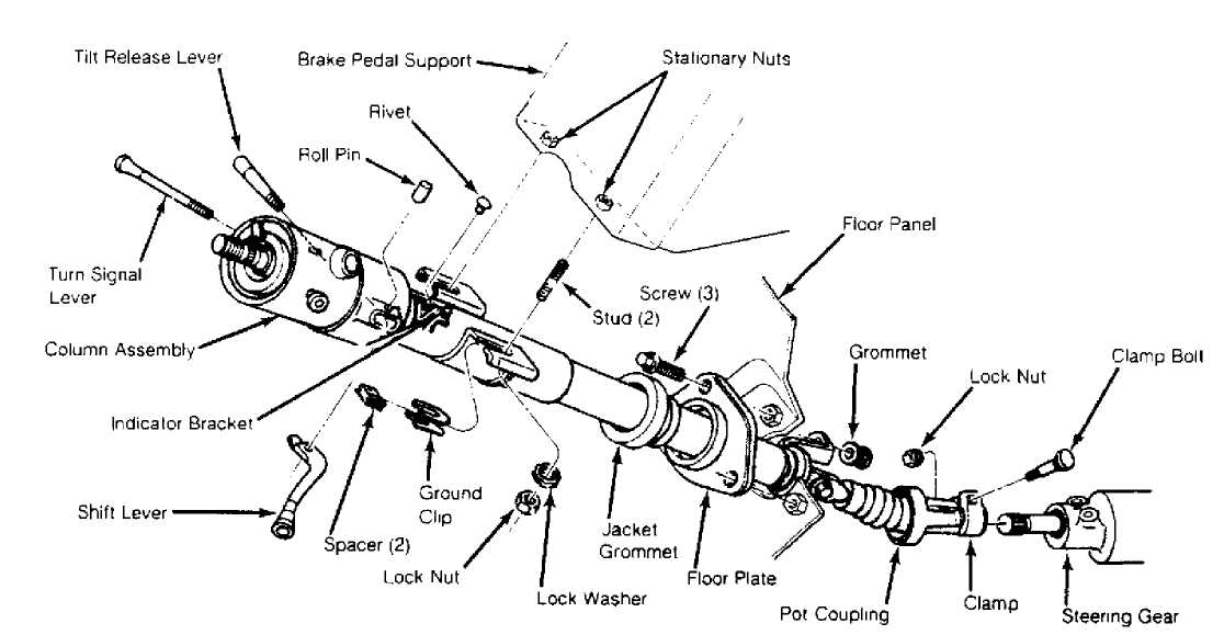 steering_column_html_m1e827994 steering column 1984 1991 jeep cherokee (xj) jeep 1990 jeep cherokee ignition wiring diagram at gsmx.co