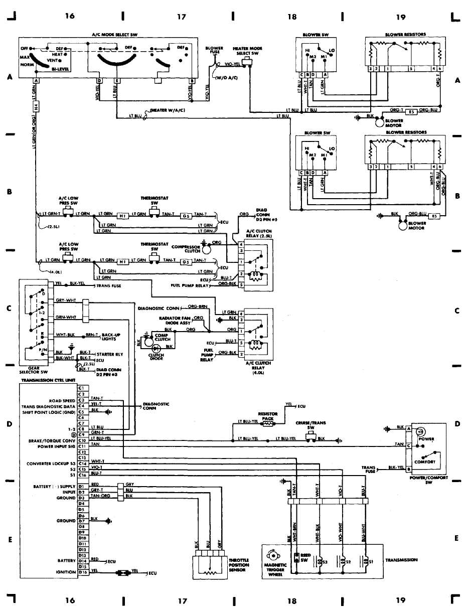 Light Wiring Diagram Also 1989 Jeep Cherokee Tail Light Wiring ...