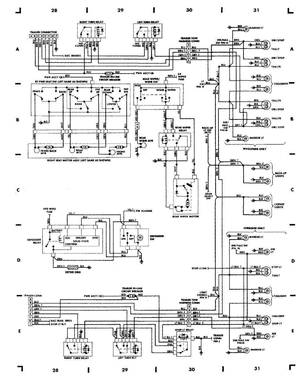 wiring diagrams 1984 1991 jeep cherokee xj jeep rh jeep manual ru 1989 jeep comanche wiring diagram 1998 Jeep Grand Cherokee Wiring Diagram