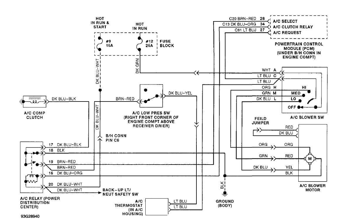 4: Manual A/C-Heater System Wiring Diagram (Cherokee)