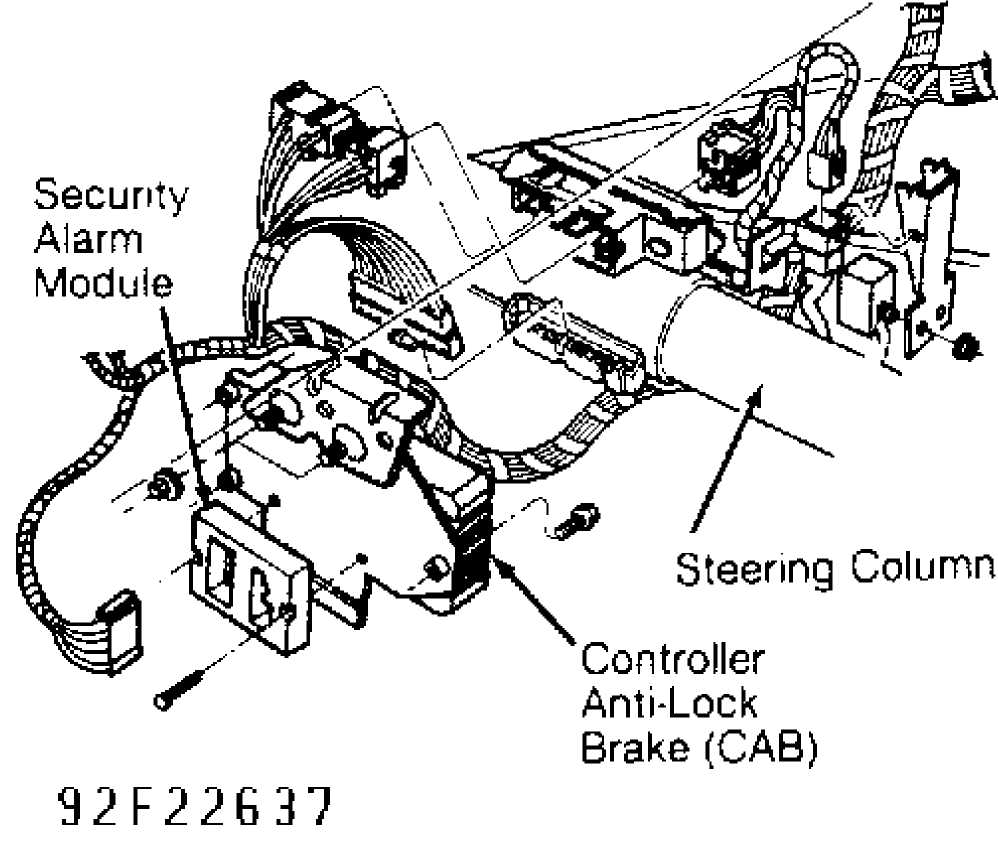 anti lock brake system 1993 jeep cherokee xj jeep 93 Jeep Cherokee Brakes security alarm module is mounted on opposite side of mounting bracket remove cab and mounting bracket see fig 2 to install reverse removal procedure