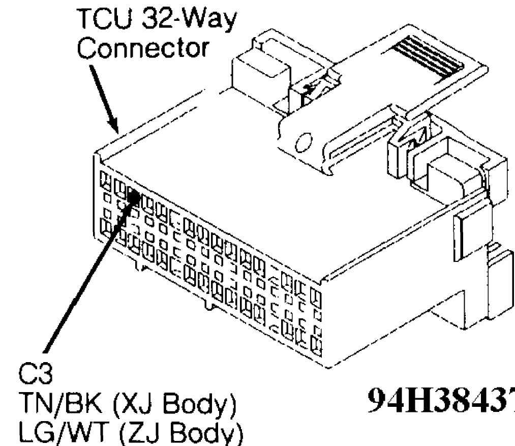 Auto Trans Diagnosis Aw4 1993 Jeep Cherokee Xj 91 Speed Sensor Wiring Diagram Fig 50 Test 5a Code 702 Tcu 32 Way Connector Cavity 3