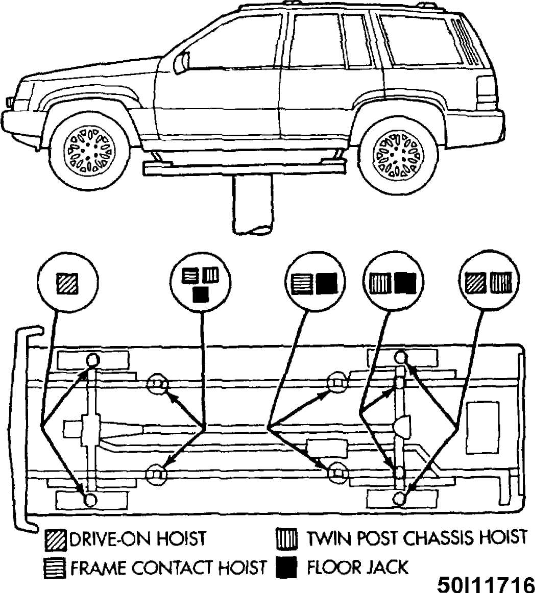 Jacking Hoisting 1993 Jeep Cherokee Xj 2000 Front Axle Diagram Wiring Photos For Help 3 Identifying Hoist Lifting Points Grand Courtesy Of Chrysler Corp